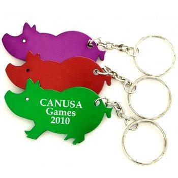 Personalized Jumbo Size Pig Shape Bottle Opener With Keychains Holder