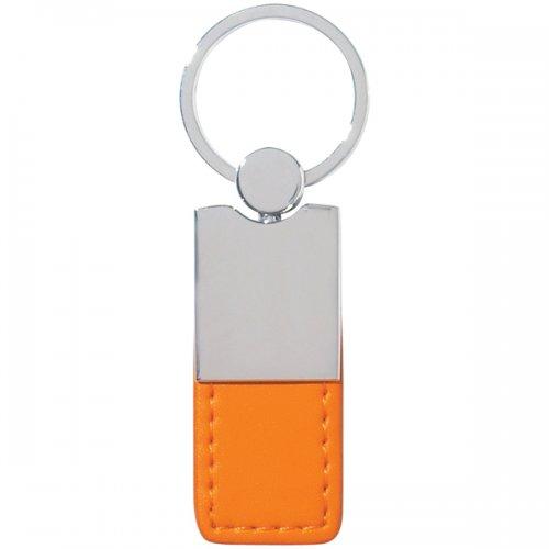 Custom Metal  Simulated Leather Keychains - Silver  Orange - Leather ... 1a6e4e645c54
