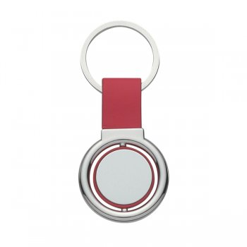 Custom Circular Metal Spinner Keychains - Red