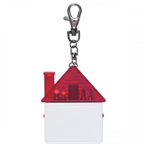Custom House Shape Tool Kit Keychains - Translucent Red