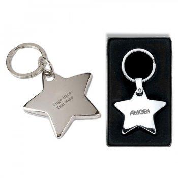 Custom Imprinted Shiny Nickel Finish Star Key Tags
