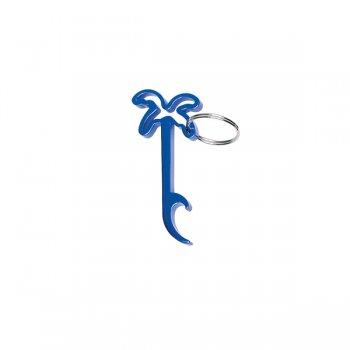 Custom Palm Tree Bottle Opener Keychain Rings - Blue