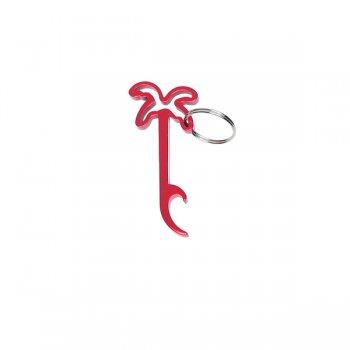 Custom Palm Tree Bottle Opener Keychain Rings - Red