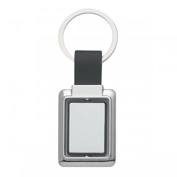 Custom Rectangle Metal Spinner Keychains - Black