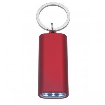 Custom Rectangular Aluminum LED Light With Keychain Rings - Red