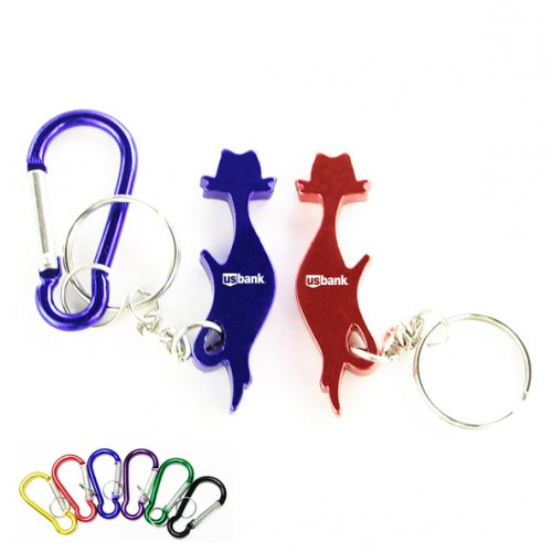 Customized Cat Shape Bottle Opener With Carabiner Keychains