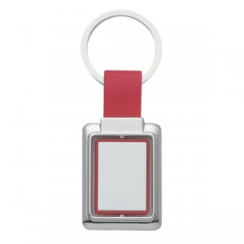 Customized Rectangle Metal Spinner Keychains - Red