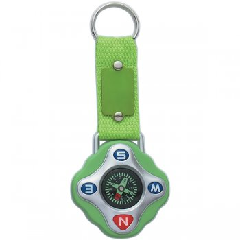 Personalized Compass Keychain Rings - Lime Green