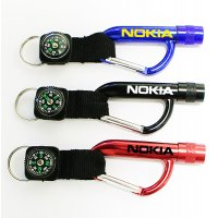 Personalized Flashlight Carabiner With Compass Keychains