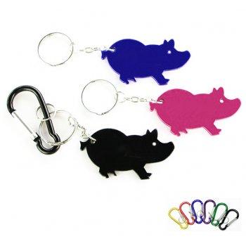 Personalized Jumbo Size Pig Shape Bottle Opener Keychains