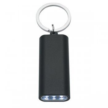 Personalized Rectangular Aluminum LED Light With Keychain Rings - Black