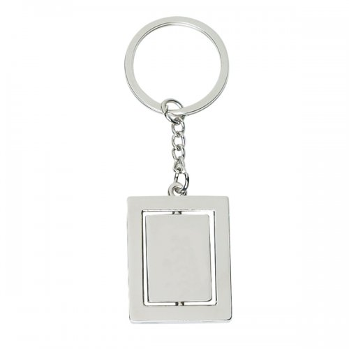 Promotional Double Rectangle Metal Keychains - Silver