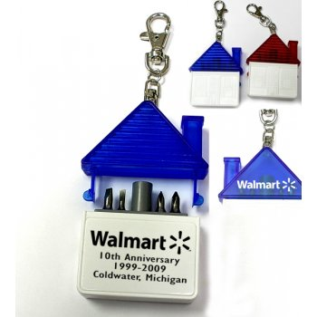 Promotional House Shaped Tool Kit With 4 Steel Bits Keychains