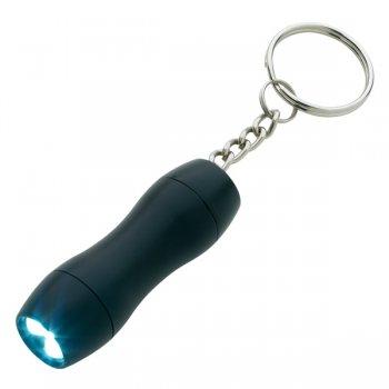 Promotional Mini Aluminum LED Light Keychains - Black