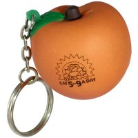 Custom Imprinted Peach Shaped Stress Reliever Keychains