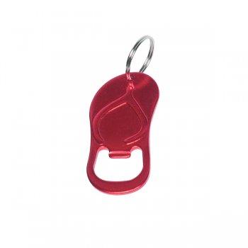 Customized Sandal Bottle Opener Keychain Rings - Red