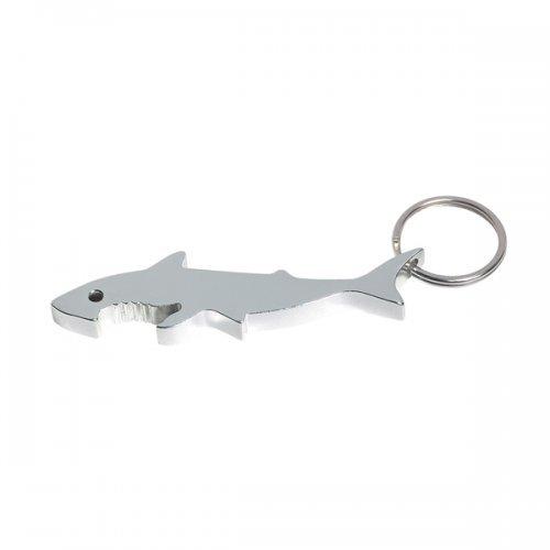 Customized Shark Bottle Opener Keychain Rings - Silver
