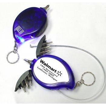 Custom Mini Tool Kit With LED & Tape Measure Keychains