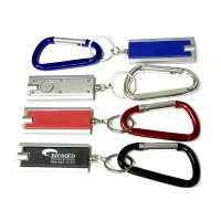 Custom Rectangular Thin Flashlight With Metallic Silver Trim Keychains