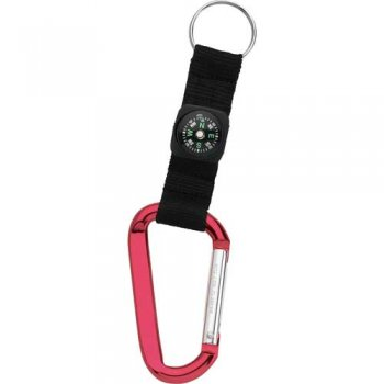 Carabiner with Compass Keychains - Red