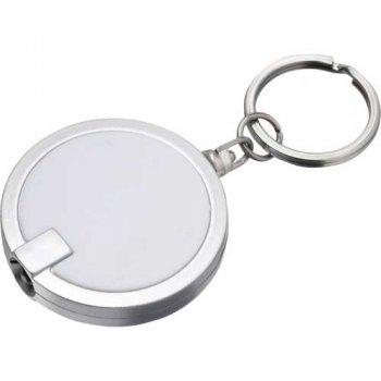 Customized Disc Light Keychains - White
