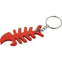 Customized Fish Bone Bottle Opener Keychains - Red
