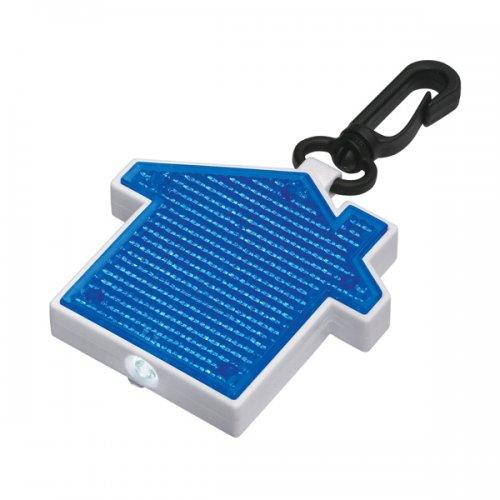 Custom House Shape LED Blinking Light Keychains - Blue