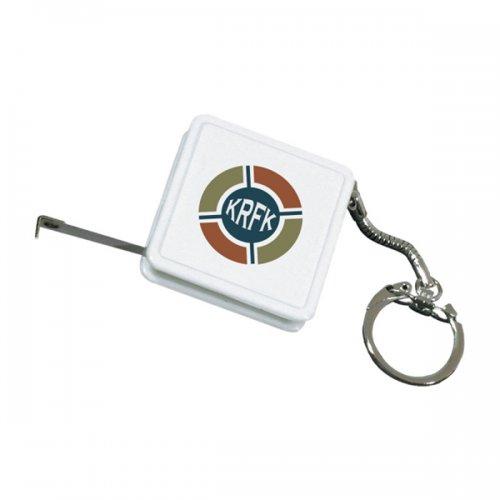 Custom Tape Measure Keychains - White
