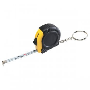 Customized Rubber Tape Measure Keychains With Laminated Label - Black / Yellow