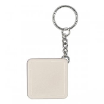 Customized Square Tape Measure Keychains - White