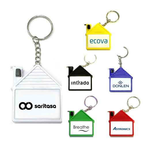 Personalized House Shape Tape Measure Real Estate Keychains