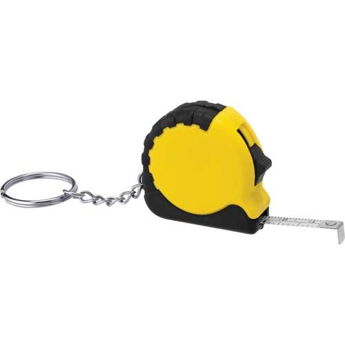 Promotional Pocket Pro Mini Tape Measure with Keychains - Yellow