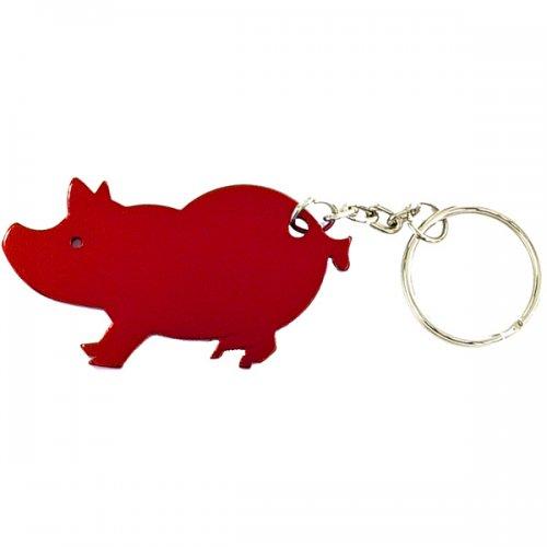 Jumbo Size Pig Shape Aluminum Bottle Opener and Carabiner Split Keychain Rings