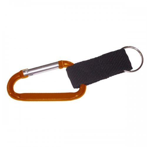 5cm Custom Carabiner With Split & Nylon Strap Keychain Rings