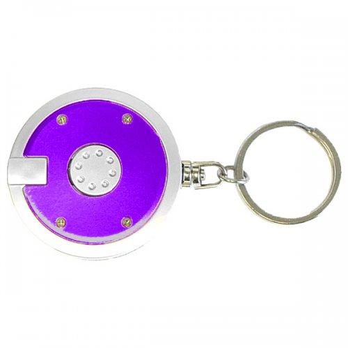 Personalized Coaster Shape Round Flashlight Keychains