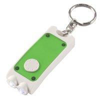 Custom Rectangular Dual LED Keychains - White/ Translucent Green