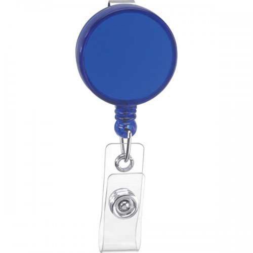 Custom Round Badge Holder Keychains - Translucent Blue