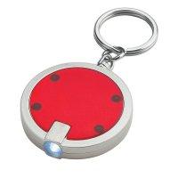 Custom Round LED Keychains- Red