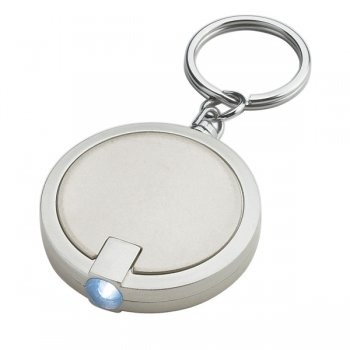 Custom Round LED Keychains - Silver