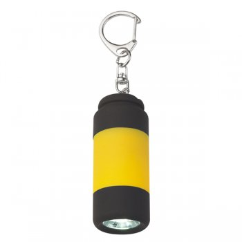 Custom Rubberized LED Light Keychains With Clip - Yellow