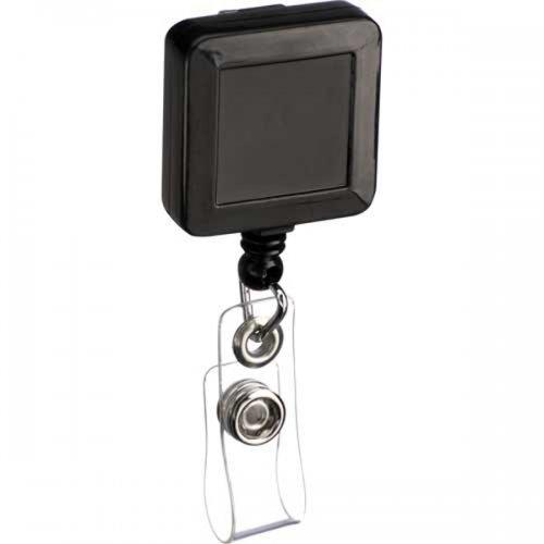 Custom Square Badge Holder Keychains - Black