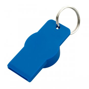 Custom Twist-Top Bottle And Can Opener With Metal Split Keychain Rings - Blue