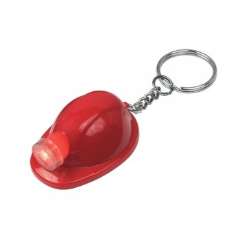 Customized Hard Hat LED Keychains  - Red