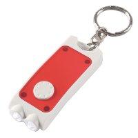 Customized Rectangular Dual LED Keychains  - White/ Translucent Red
