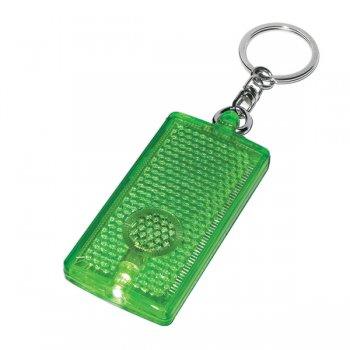 Customized Rectangular LED Light Keychains  - Translucent Green