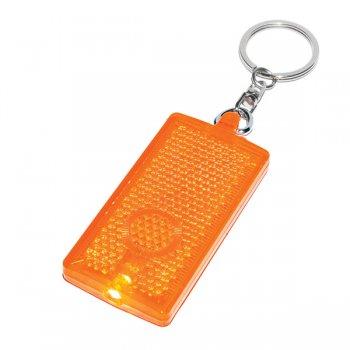 Customized Rectangular LED Light Keychains  - Translucent Orange