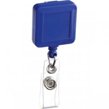 Customized Square Badge Holder Keychains - Blue