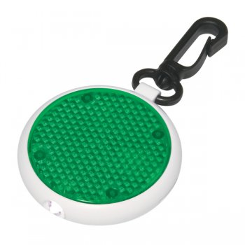 Personalized Dual Function LED Blinking Light Keychains with Swivel Clip - Translucent Green