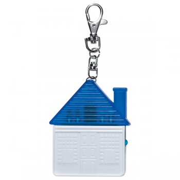 Personalized House Shape Tool Kit with Keychain Rings - Translucent Blue