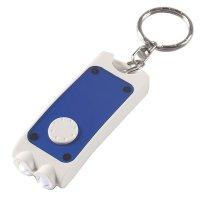 Personalized Rectangular Dual LED Keychains  - White/ Translucent Blue